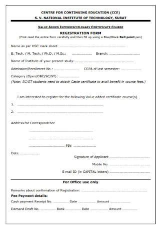 Certificate Registratiion Form