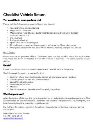 Checklist Vehicle Return Template