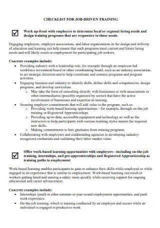 Checklist for Job Driven Training
