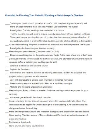 Checklist for Planning Your Catholic Wedding