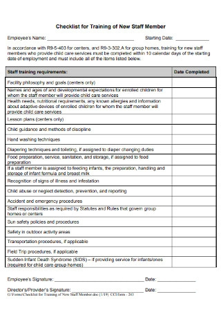 Checklist for Training of New Staff Member