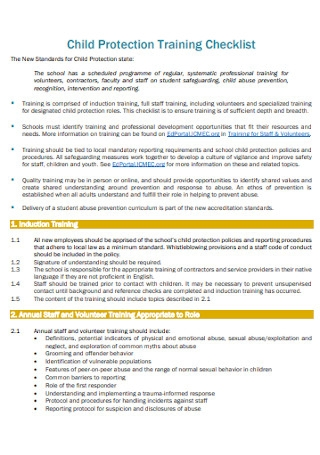 Child Protection Training Checklist
