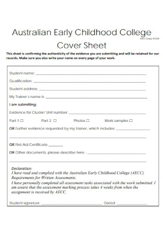 Childhood College Cover Sheet