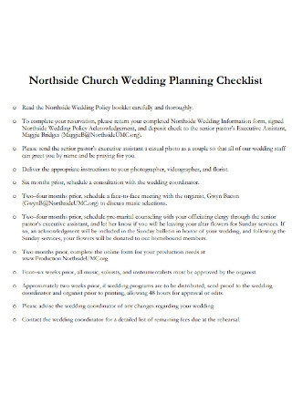 Church Wedding Planning Checklist