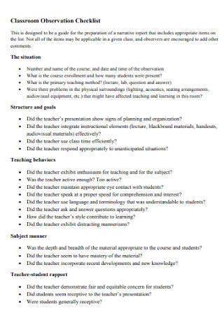 Classroom Observation Checklist