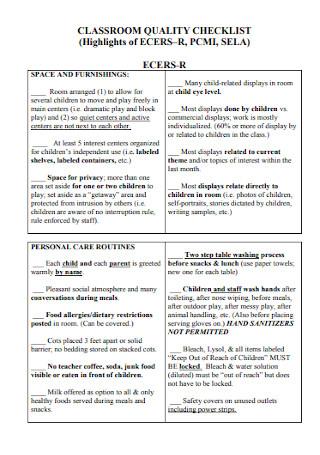 Classroom Quality Checklist