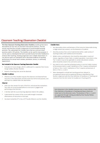 Classroom Teaching Observation Checklist
