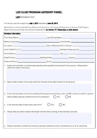 Club Program Nomination Form