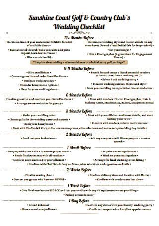 Clubs Wedding Checklist