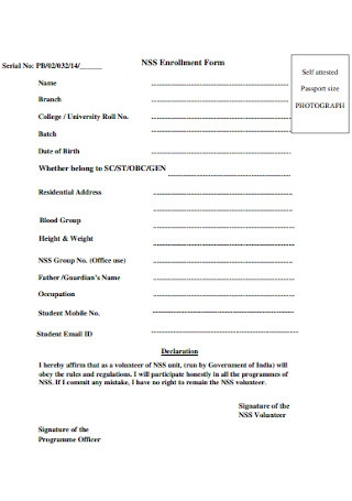 Collge Enrollment Form