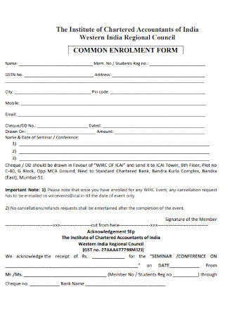 Common Enrollment Form