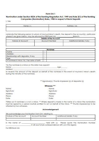 Company Nomination Form