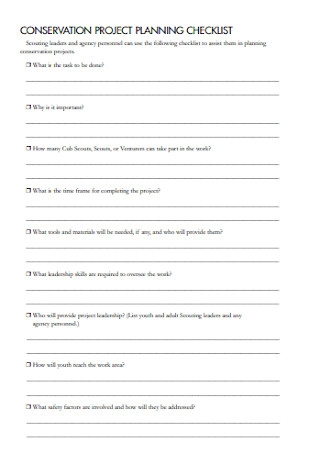 Conservation Project Planning Checklist