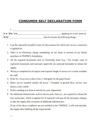 Consumer Self Declaration Form