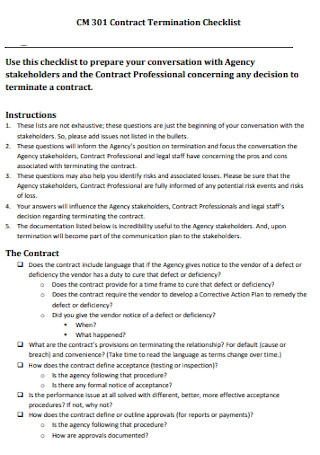 Contract Termination Checklist