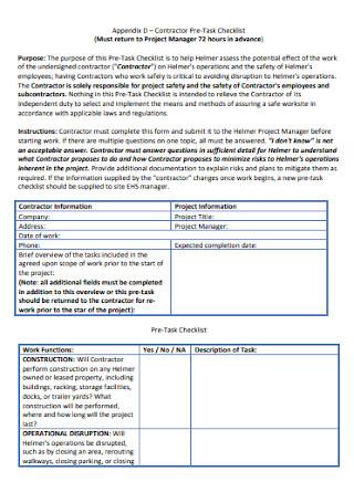 Contractor Pre Task Checklist