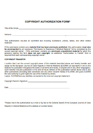 Copyright Authorization Form Template