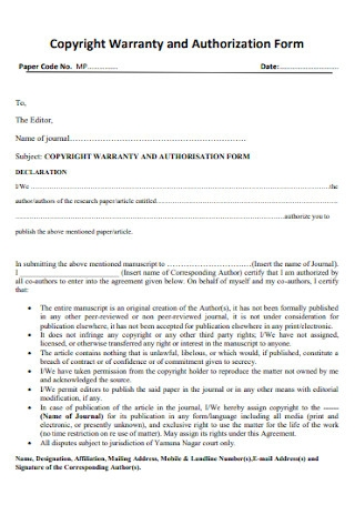 Copyright Warranty and Authorization Form