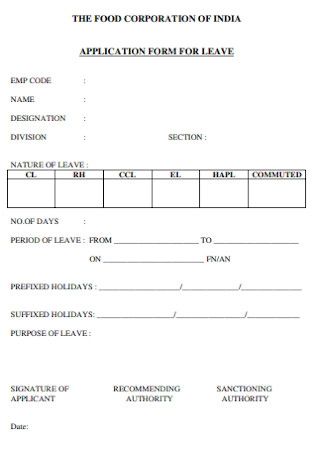 Corporation Leave Application Form