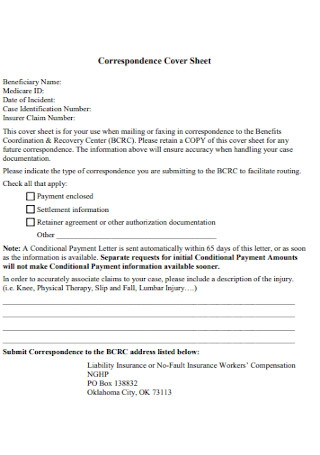 Correspondence Cover Sheet