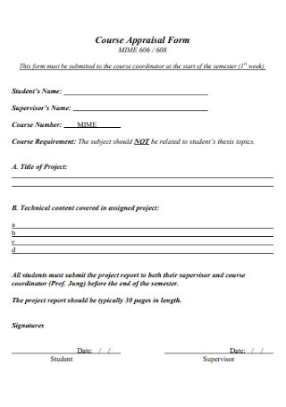 Course Appraisal Form