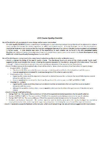 Course Quality Checklist