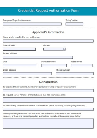 Credential Request Authorization Form