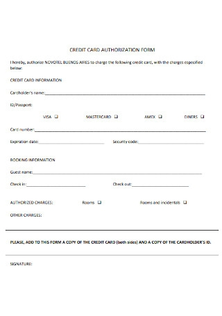 Credit Card Authorization Form Example