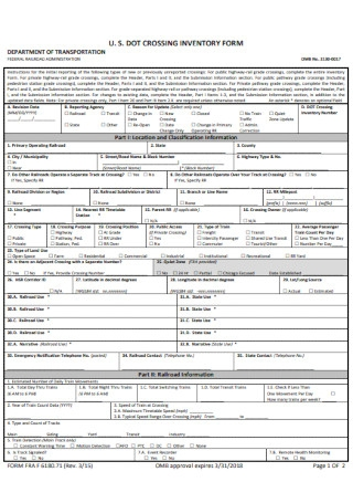 Crossing Inventory Form