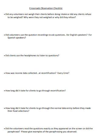 Crossroads Observation Checklist