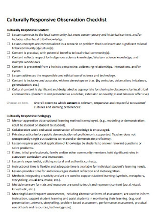 Culturally Responsive Observation Checklist