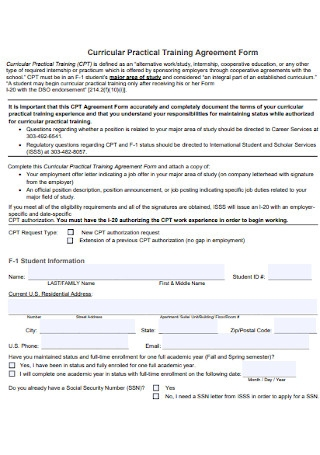 Curricular Practical Training Agreement Form