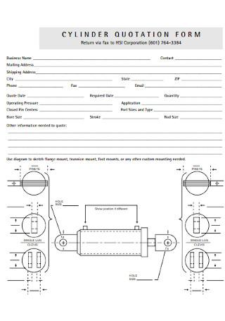 Cylinder Quotation Form