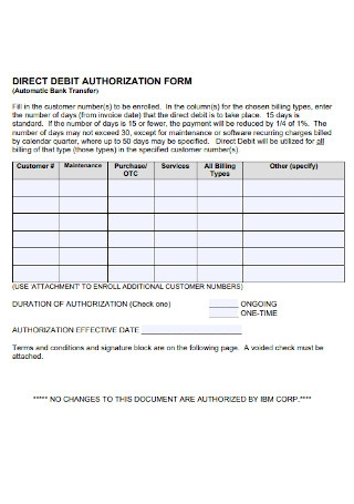 Direct Debit Authorization Form