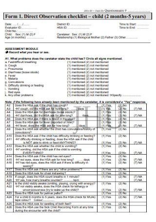 Direct Observation Checklist
