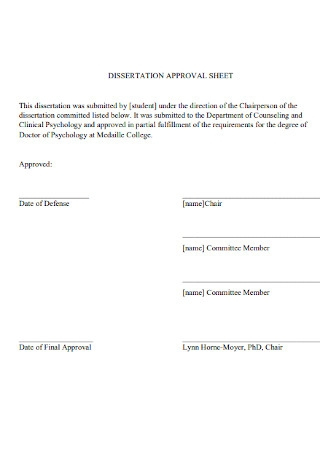 Dissertation Approval Sheet Template
