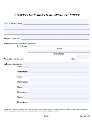 Dissertation Signature Approval Sheet