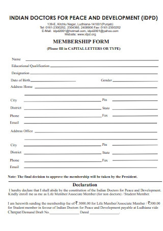 Doctors Membership Form