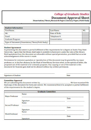 Document Approval Sheet