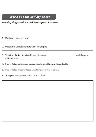 E Book Activity Sheet