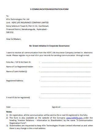 E Communication Registration Form