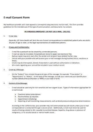E mail Consent Form