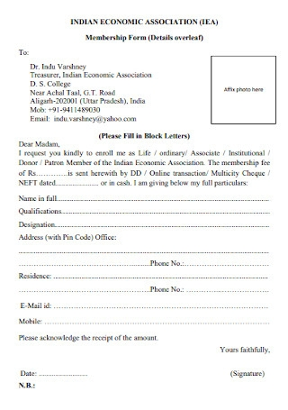 Economic Association Membership Form