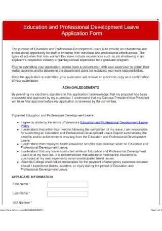 Education Leave Application Form
