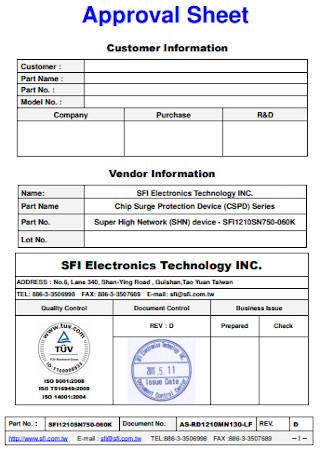 Electronics Approval Sheet