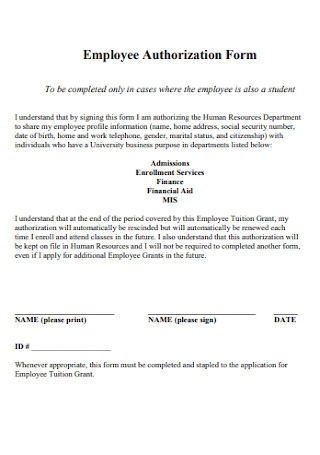 Employee Authorization Form