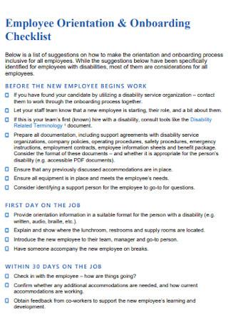 Employee Orientation Onboarding Checklist