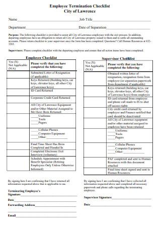 Employee Termination Checklist Format