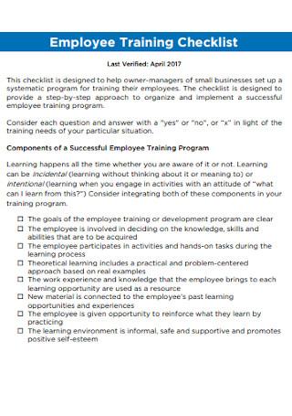 Employee Training Checklist