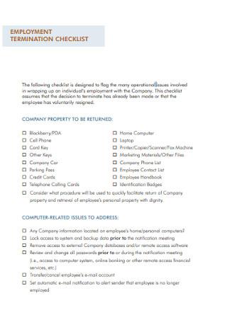 Employment Termination Checklist